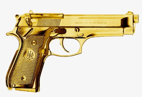 Golden Pistol Guns PNG, Clipart, Arms, Download, Firearms.
