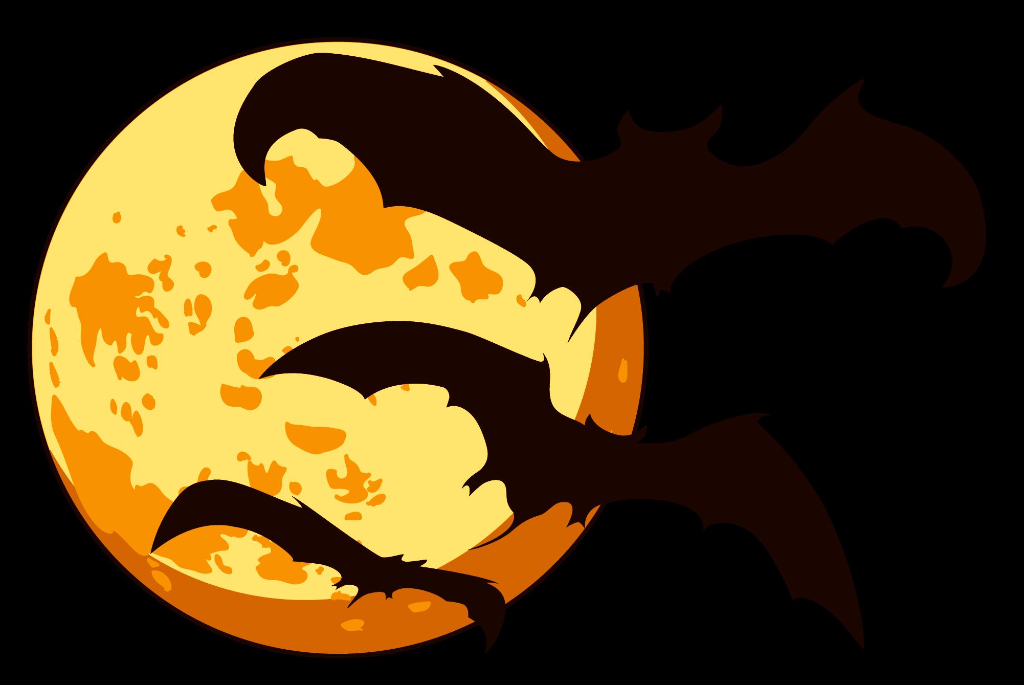 Orange Moon and Bats Halloween transparent PNG.