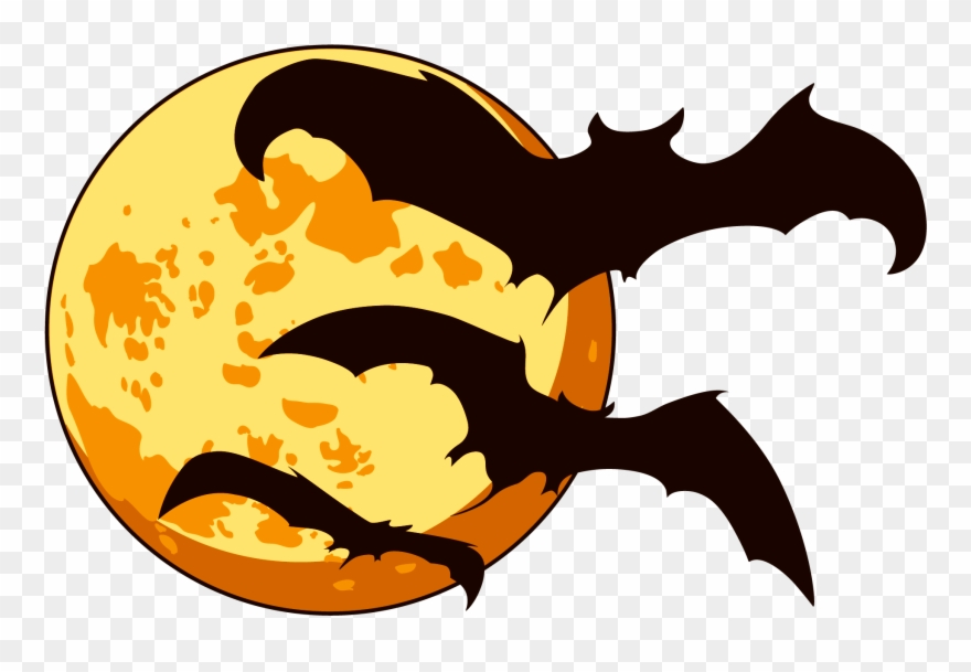 Orange Moon And Bats Halloween.