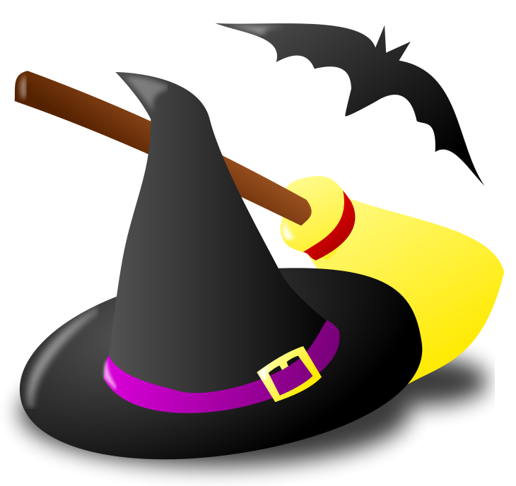Halloween Witch Hat Broom and Bat PNG Clipart.