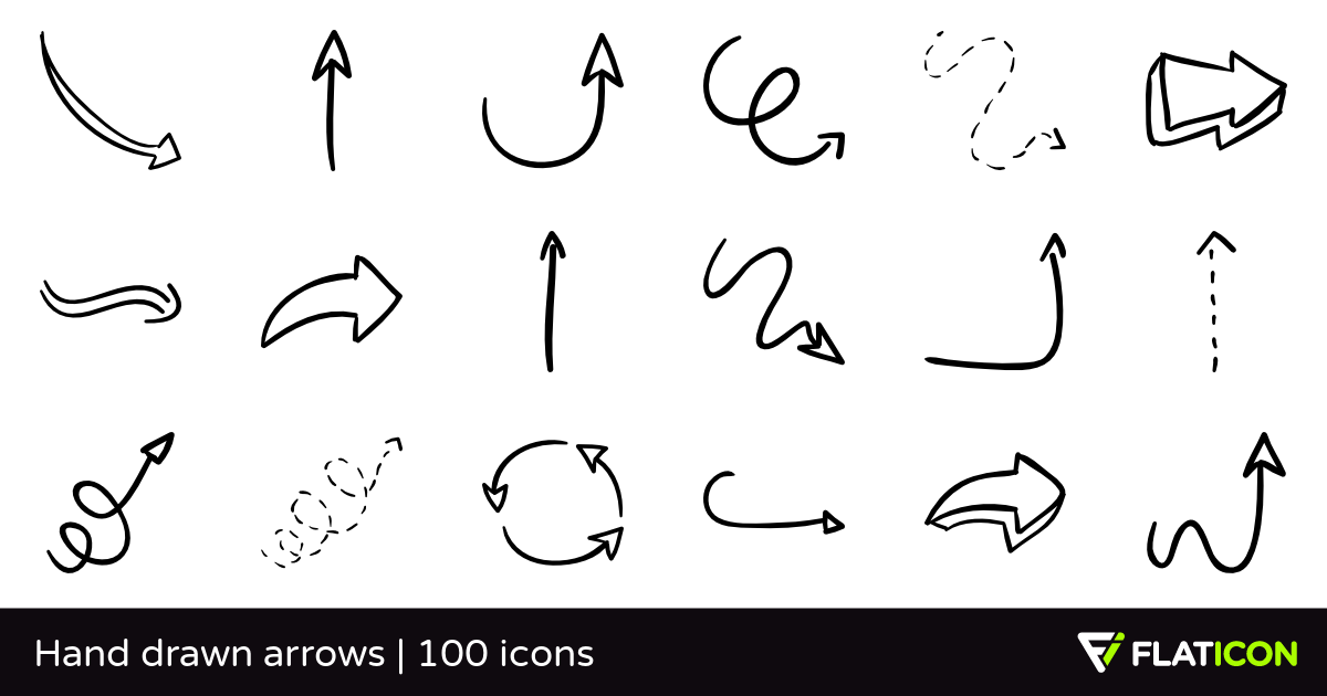 Hand drawn arrows 100 free icons (SVG, EPS, PSD, PNG files).