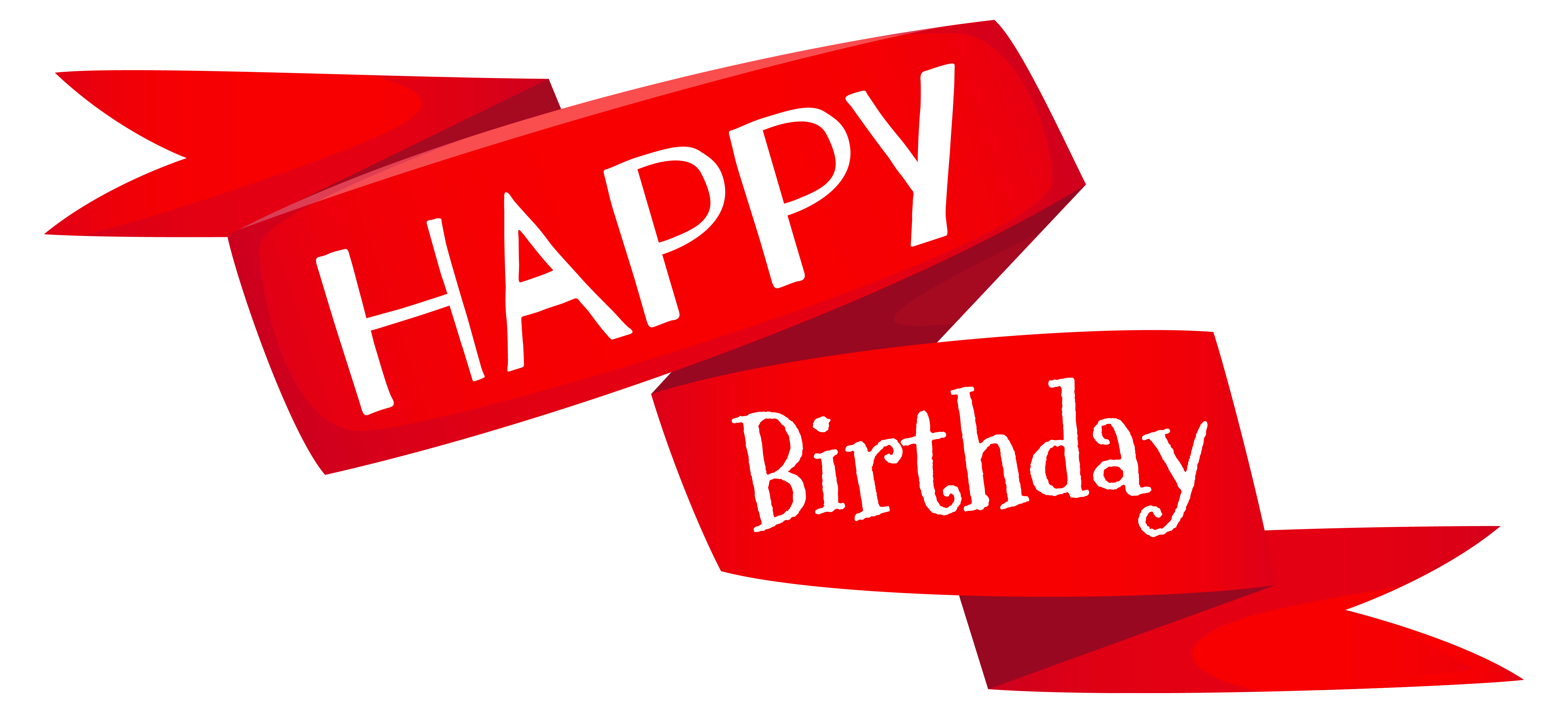Red Happy Birthday Banner PNG Image.