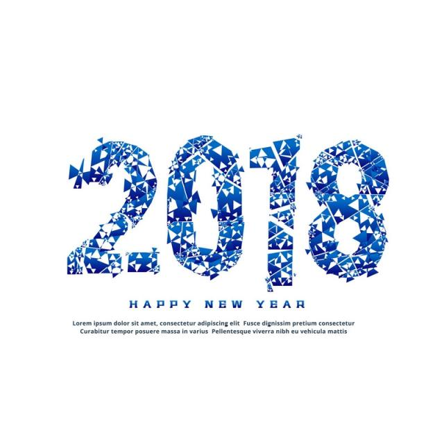 Abstract 2018 Text Effect In Broken Style, 2018, Year, Happy.