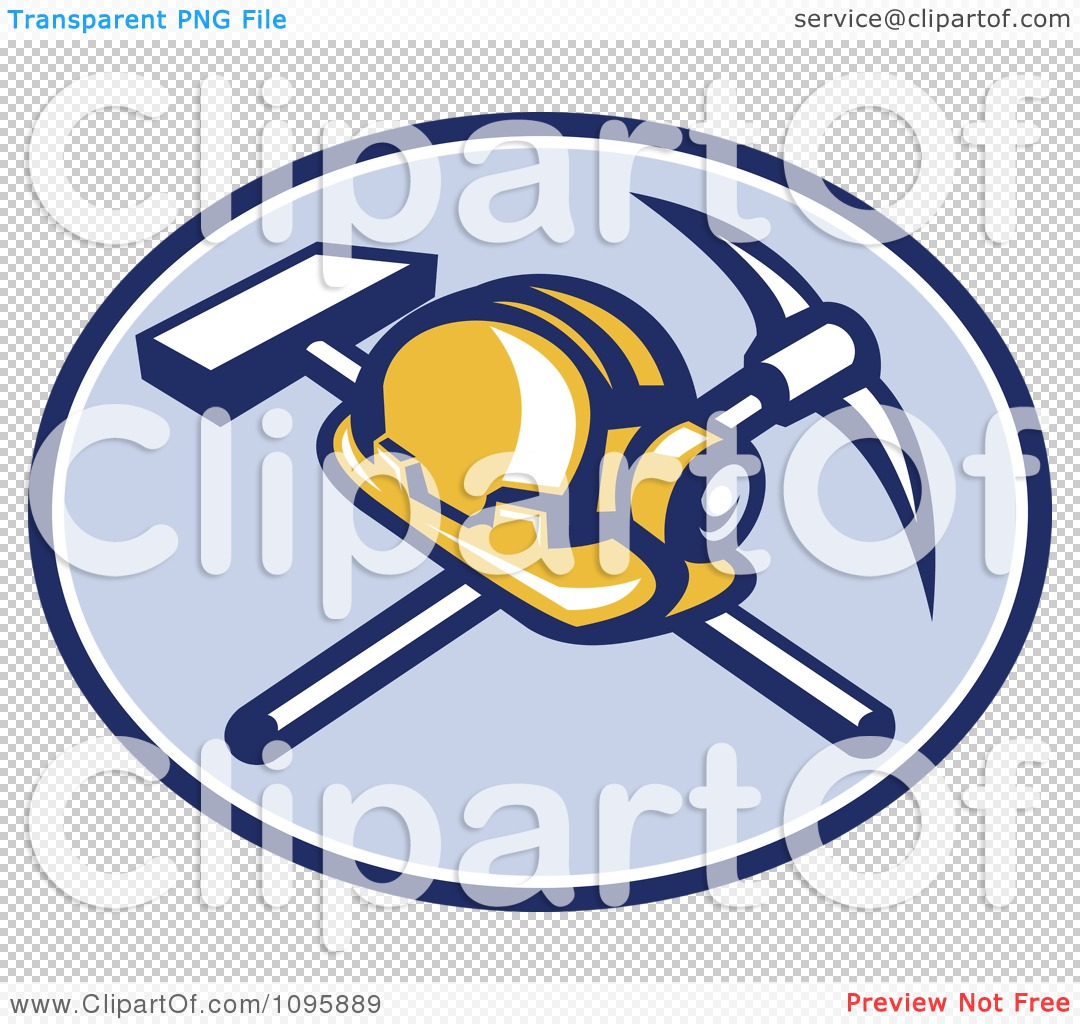 Clipart Retro Coal Miner Hard Hat And Head Lamp With A Crossed.