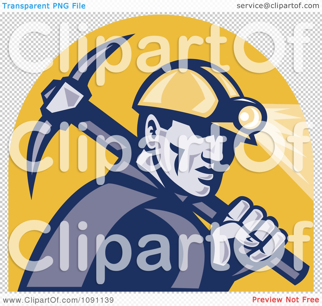 Clipart Retro Miner With A Pickaxe And Head Lamp.