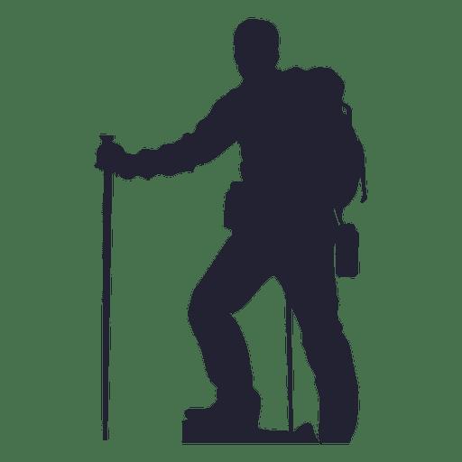 Hiking man silhouette.