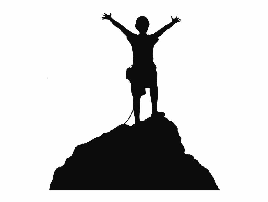 Hiking, Mountain, Trekking, Black, Silhouette Png Image.