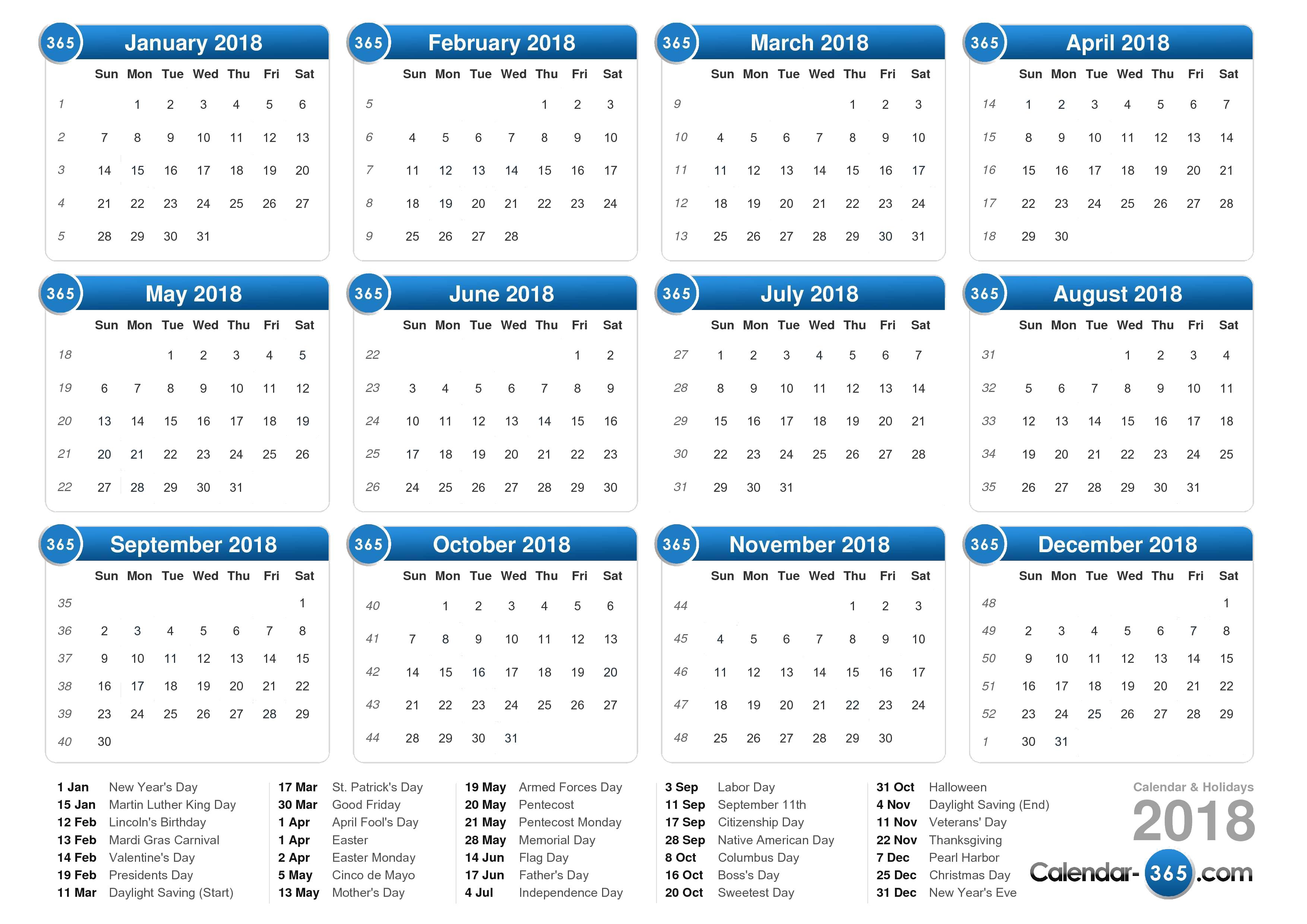 2018 Calendar PNG Transparent Images.