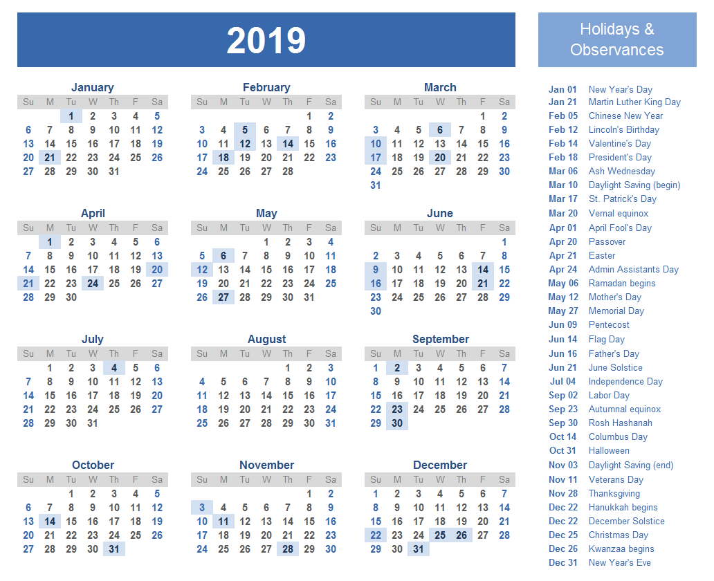 Free Yearly Printable Calendar 2019 With Uae (Dubai.