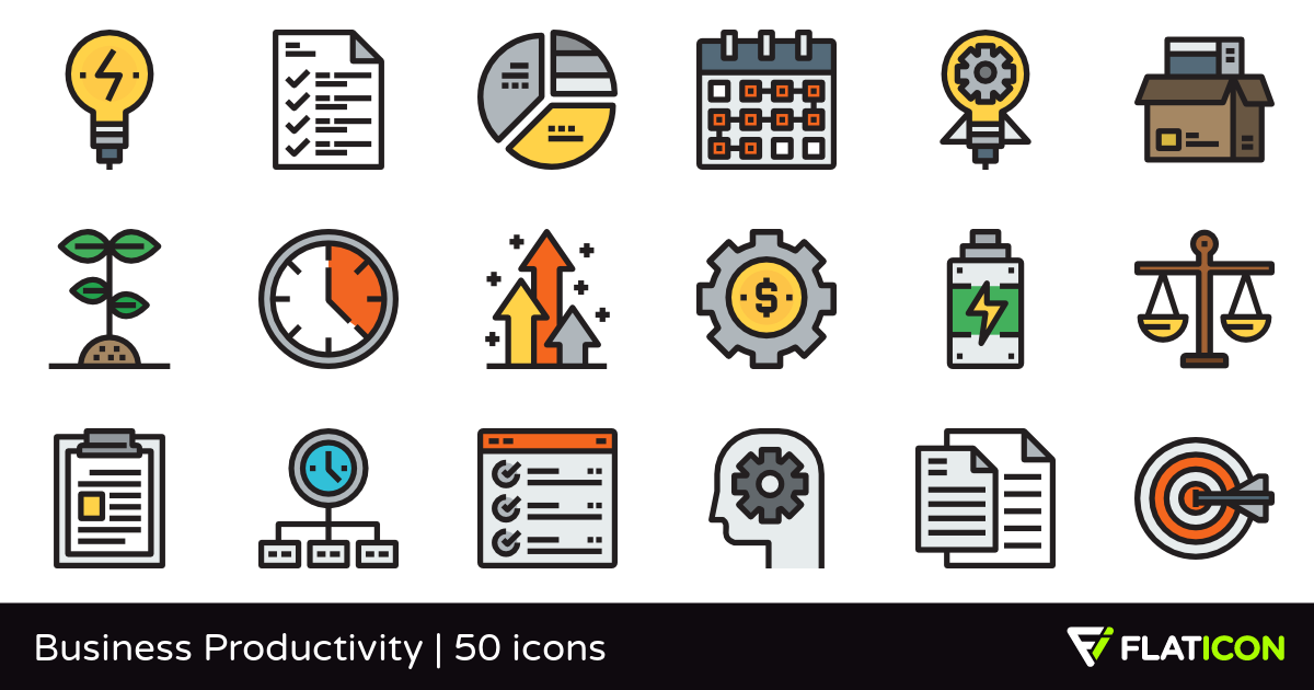 Business Productivity 50 free icons (SVG, EPS, PSD, PNG files).