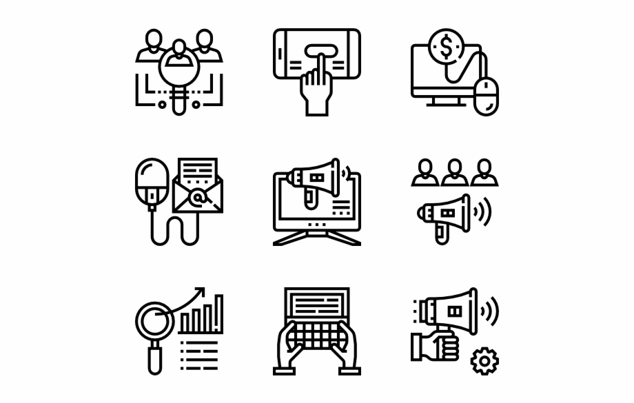 Digital Marketing Icon Font, Icon Pack, Vector Icons,.