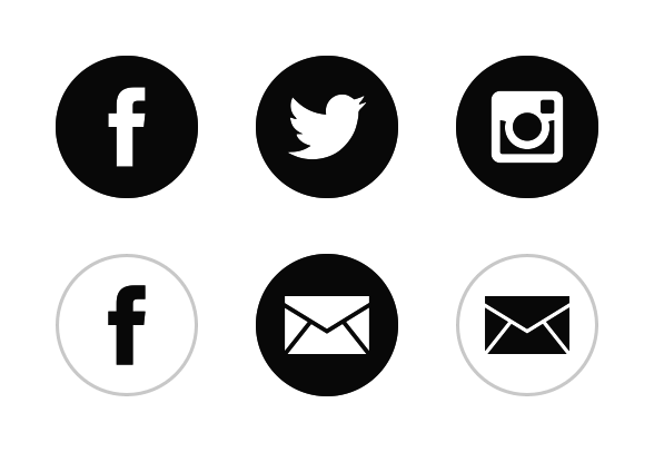 Black White Social Media icons by youtube.com/alfredocreates.