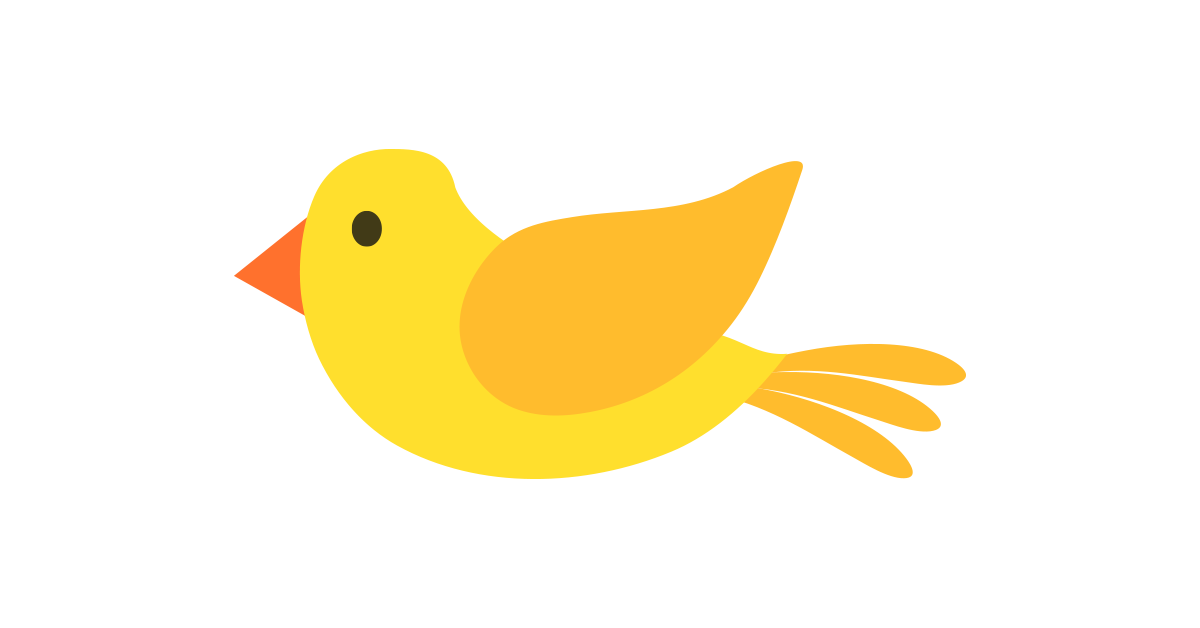 Yellow Bird Illustration Vector and PNG.