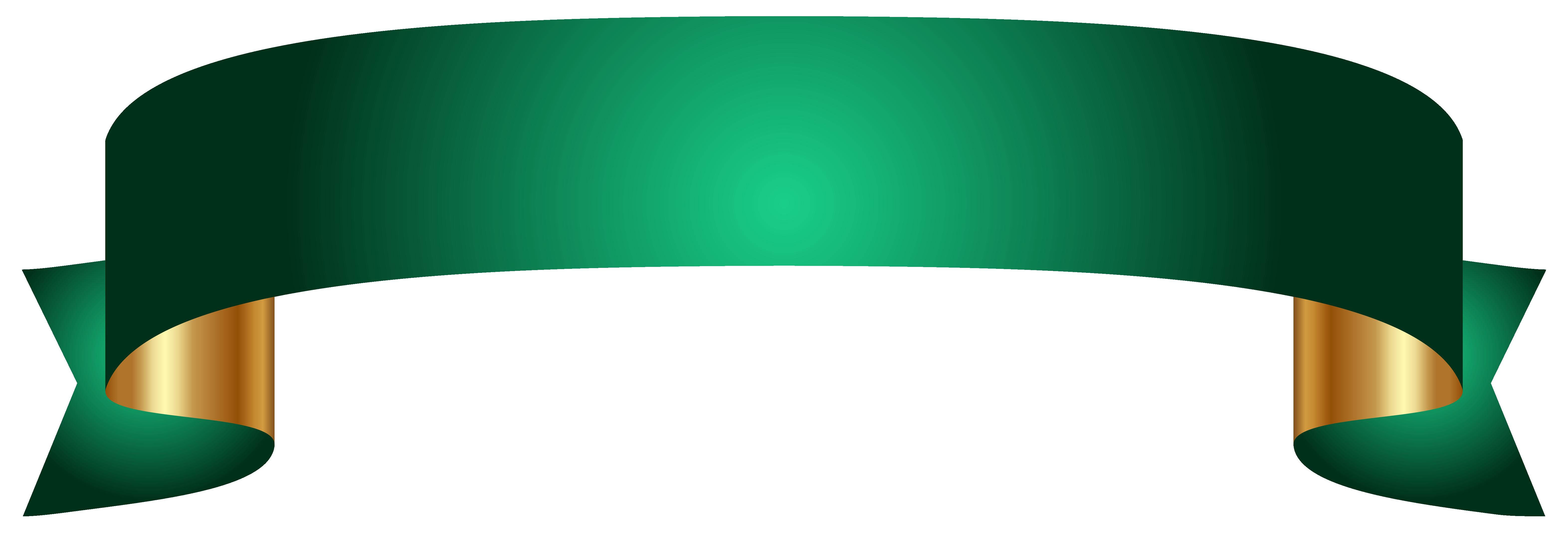 Green Banner Transparent PNG Clip Art Image.