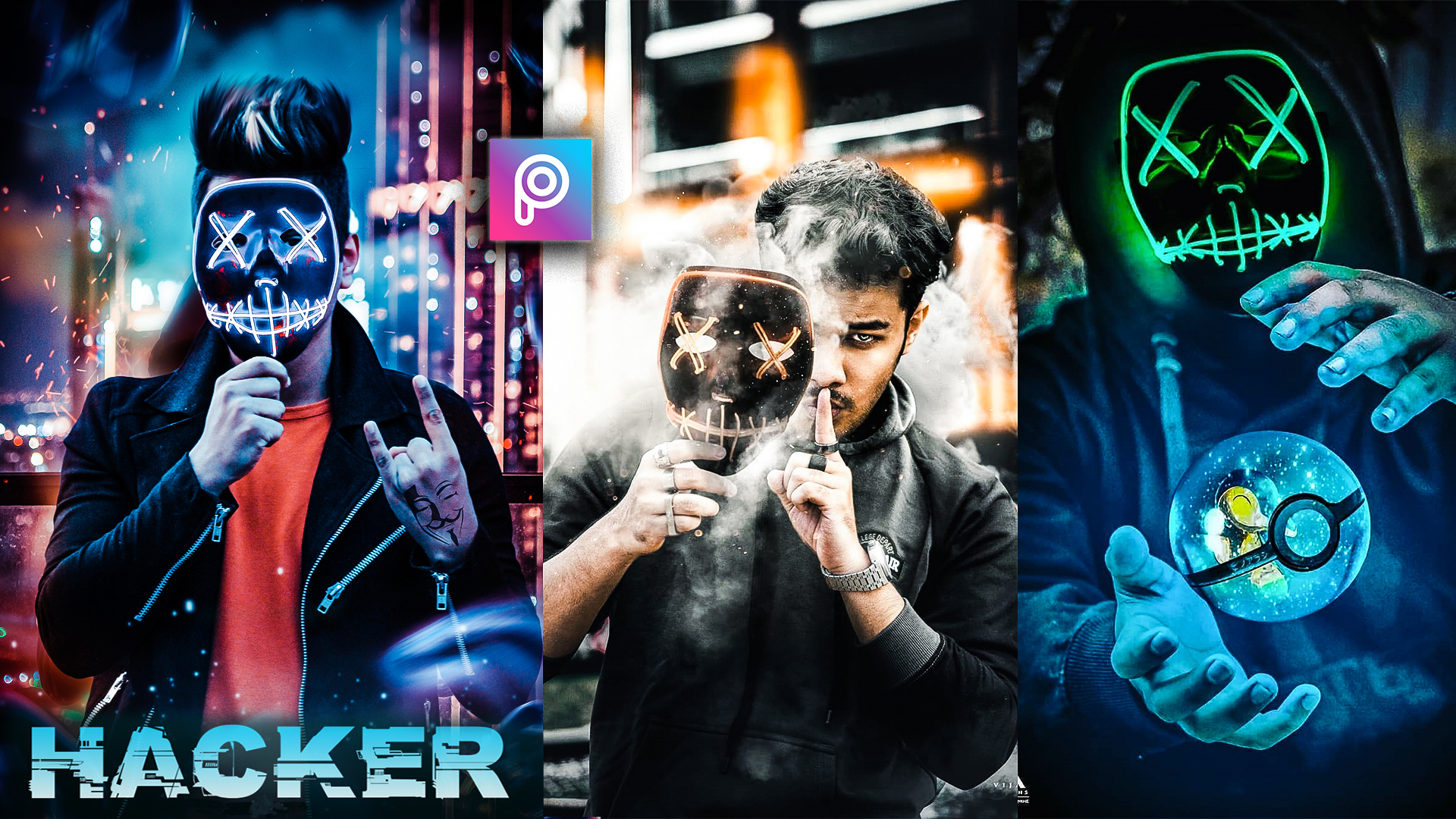 3D Hacker Neon Mask Editing Png, Background Stock Download.