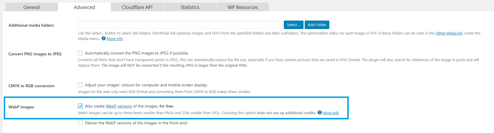 Convert JPEG & PNG images to WebP format in WordPress.