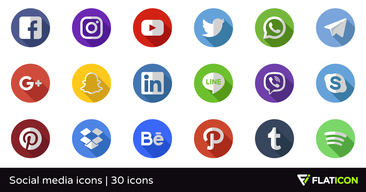 Social media icons 29 free icons (SVG, EPS, PSD, PNG files).
