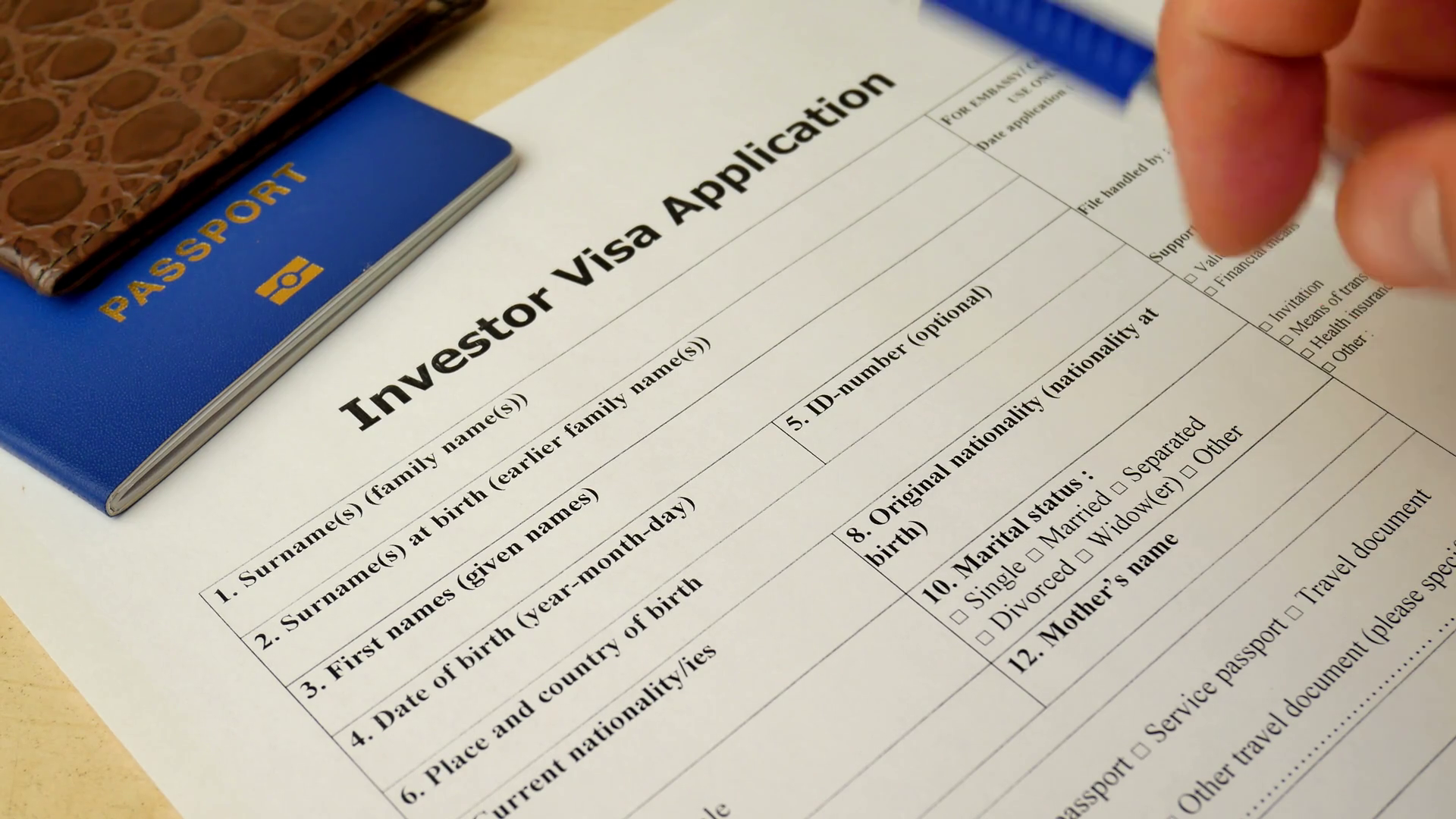 Investor Visa Application form to travel or immigration. Document with  passport, apply and permission for foreigner country Stock Video Footage.