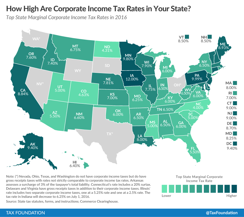 State Corporate Income Tax Rates and Brackets for 2016.