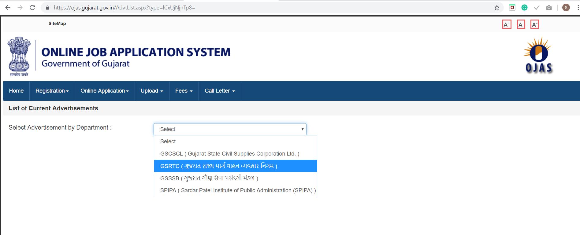 GSRTC Driver Online Application Form 2019.