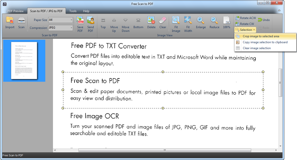 Free Scan to PDF.