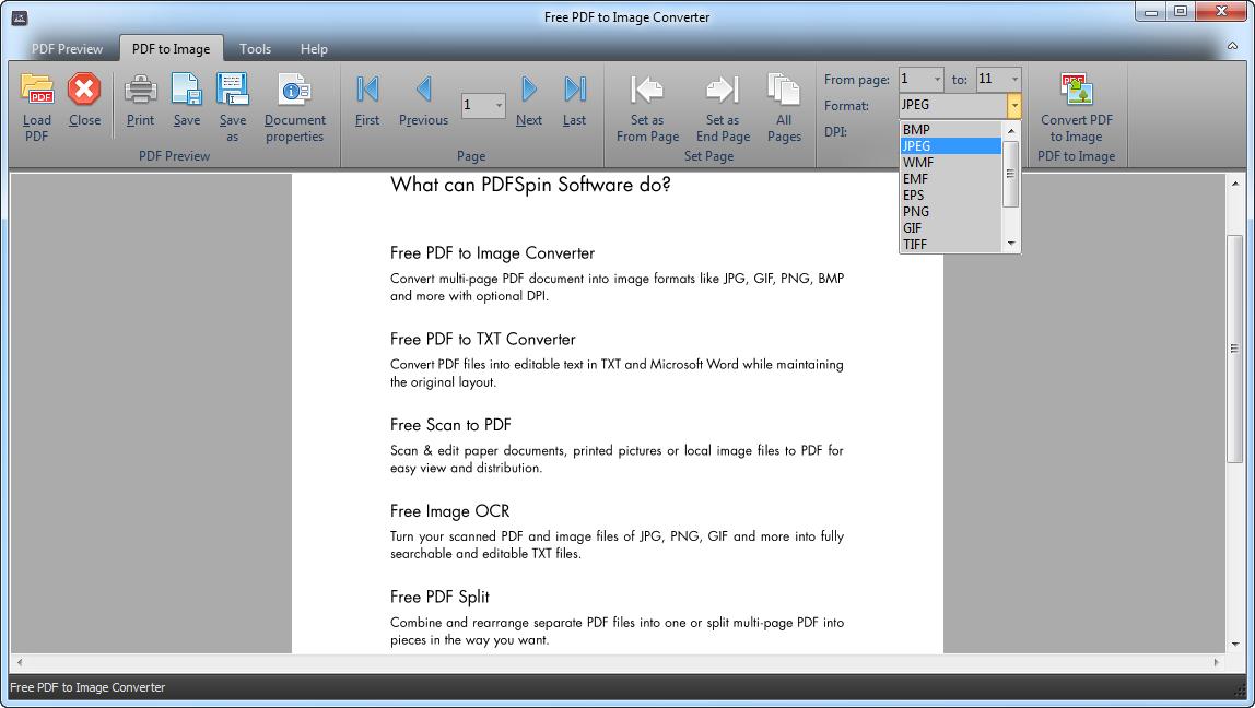 Free PDF to Image Converter.