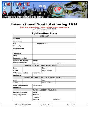 Fillable Online ipa org IYG France Application Form.