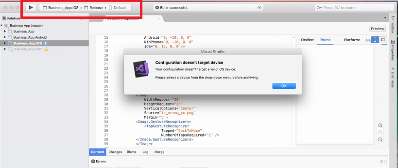 xamarin forms: Issue with creating IPA file.