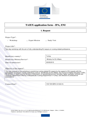 Fillable Online efnweb TAIEX application form IPA, ENI.