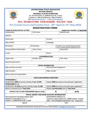 Fillable Online registration form.