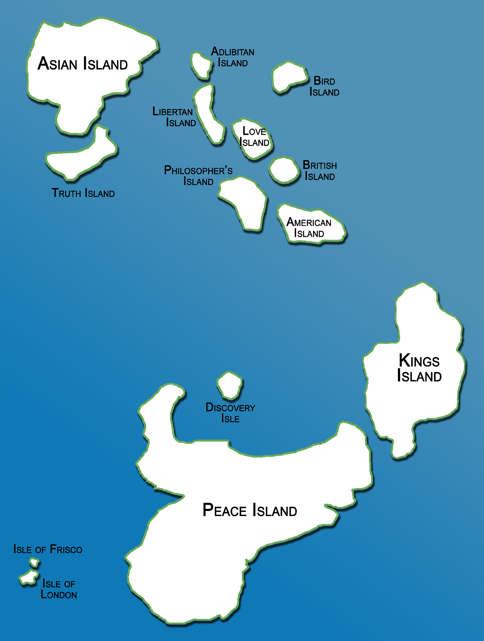 List of islands of the Lovia Archipelago.