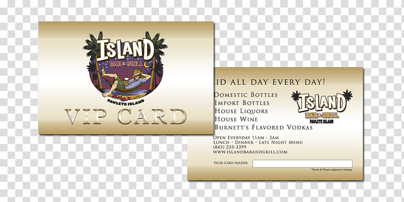 Island Bar & Grill Wine list Menu, vip card design.