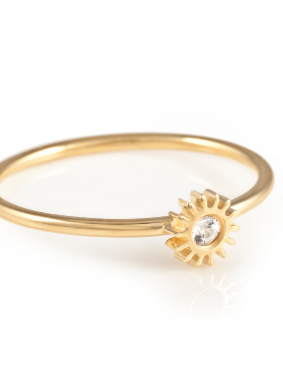 Tiny Gold Cog Ring With White Sapphire by Clarice Price.