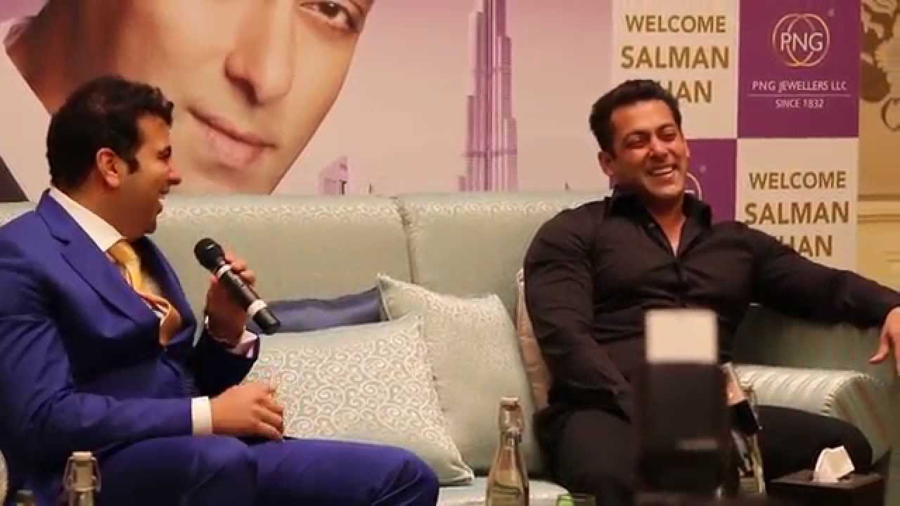Salman Khan in splits of laughter at a Dubai press conference PNG jewellers.
