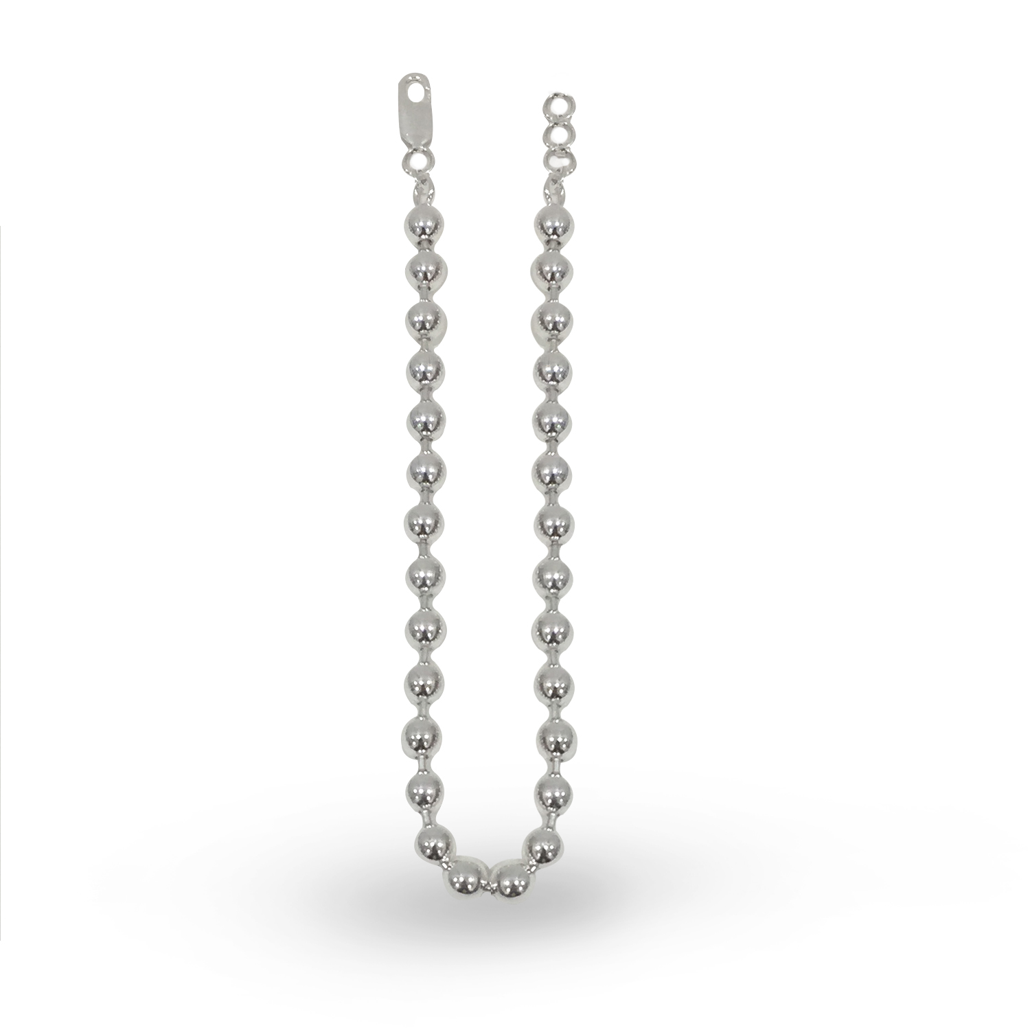 Single Round Bead Silver Mala by PNG Jewellers.