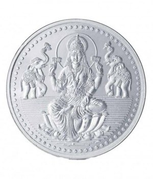 Popley silver 999 purity 20 gram coin with goddess lakshmi design.