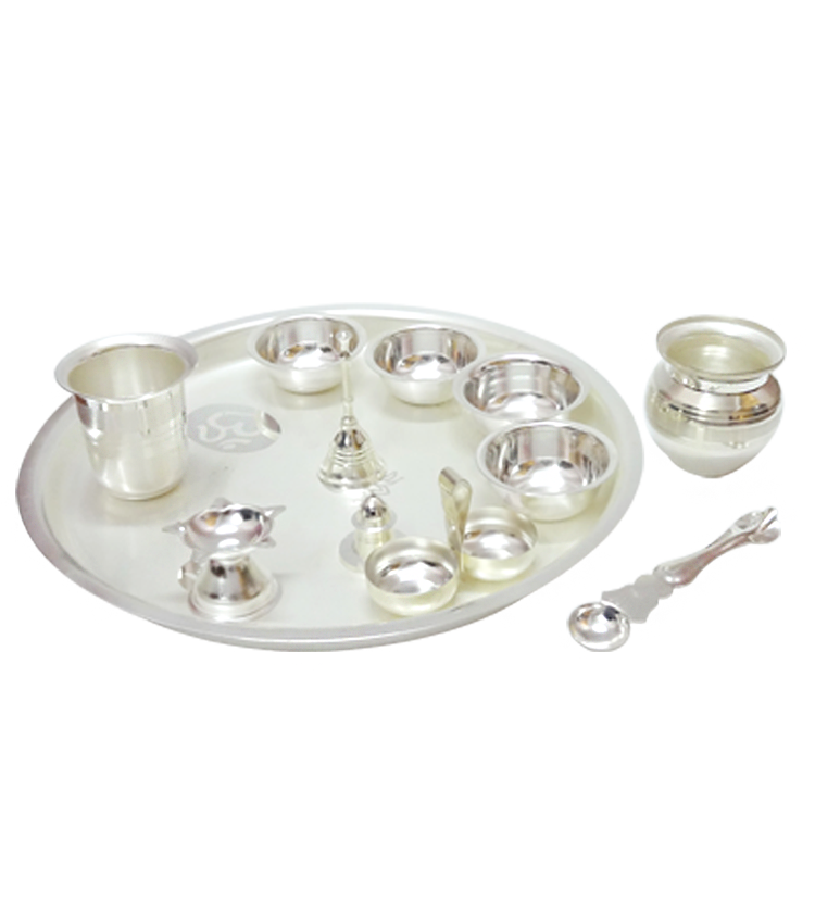 Pooja Set of 12pcs,Silver Plated,Online Gifts Shopping India.