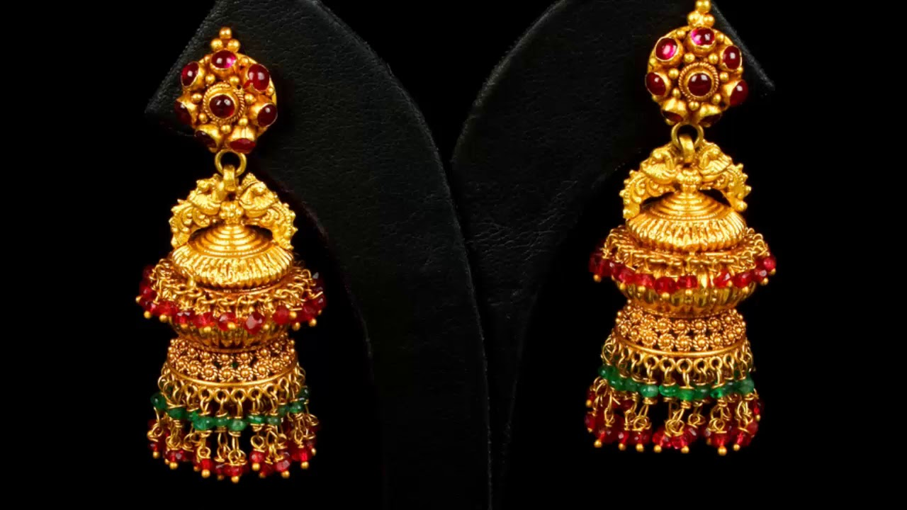 Design\'s Of Gold Full Earrings Jhumka with weight From P N G Jewellers.