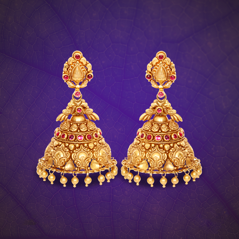 22K Gold Antique Jhumka from GRT Jewellers.