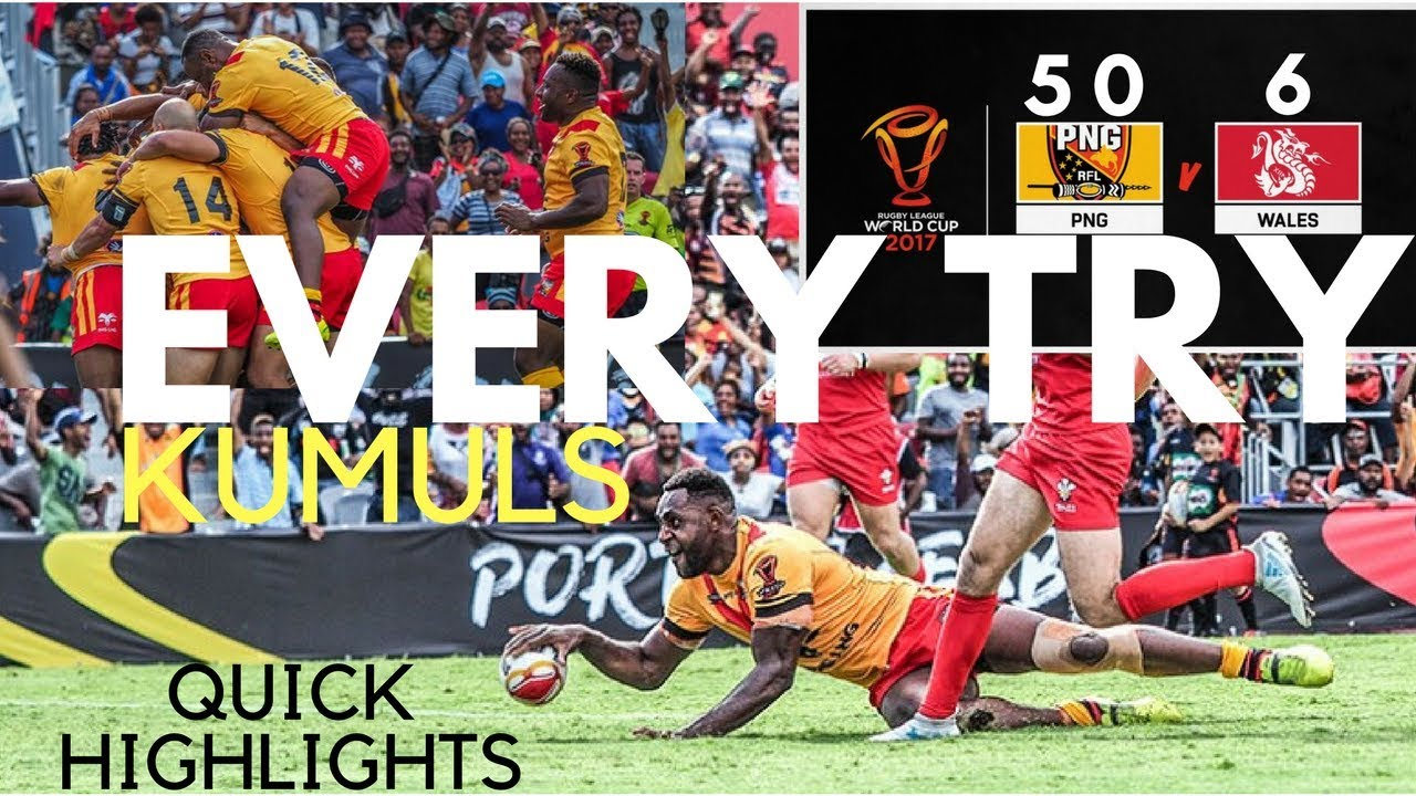 PNG KUMULS VS WALES (EVERY TRY RLWC 2017).
