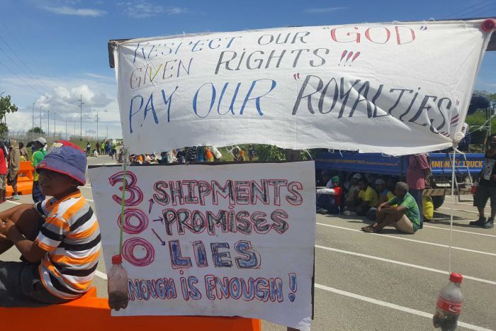 Papua New Guinea protesters angry about unpaid royalties.