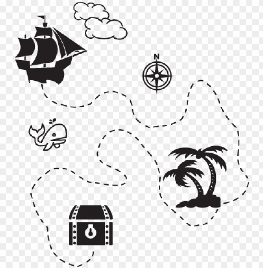 irate treasure map wall decal.