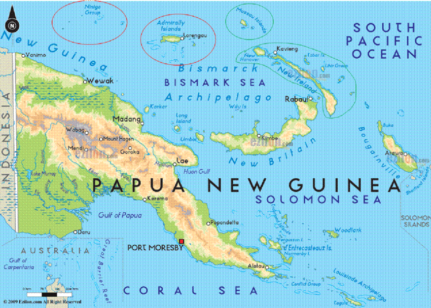 Map of Papua New Guinea with islands of Manus Province.