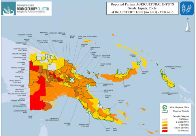 Papua New Guinea: 4W Activities Map February 2016 Update.