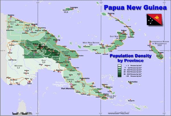 Papua New Guinea Country data, links and map by.