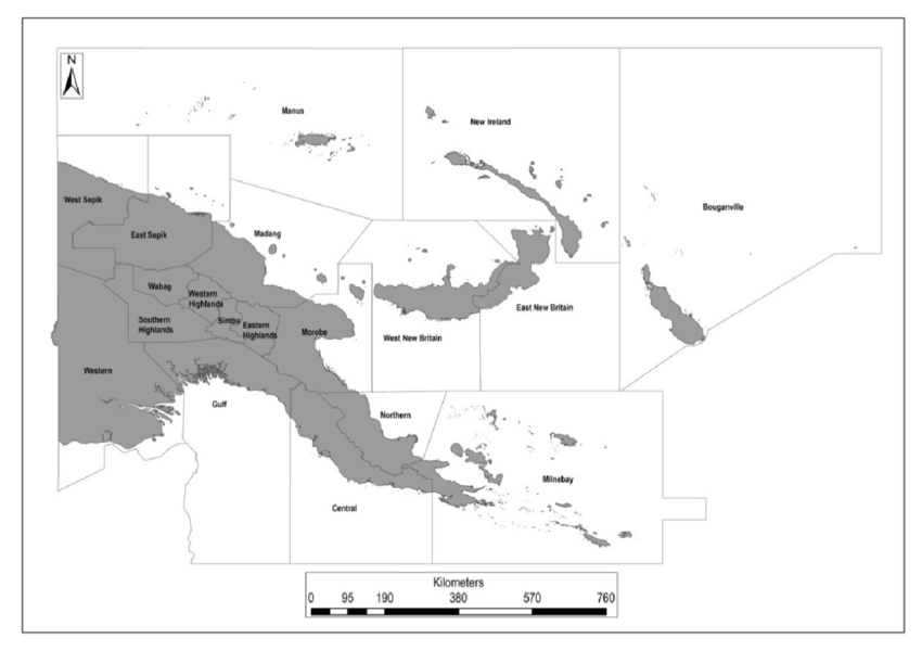 Map of Papua New Guinea indicating the old 2012 provincial.