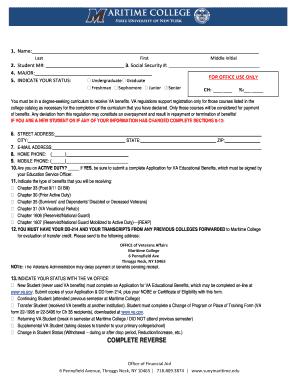 Fillable Online sunymaritime 1999 Enrollment form.