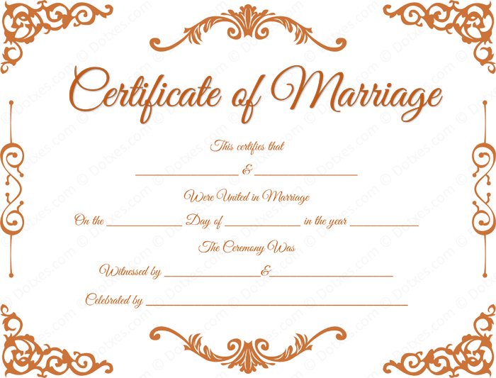 Traditional Corner Marriage Certificate Format for PDF.