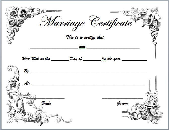 Certificate Templates: Marriage Certificate Template.