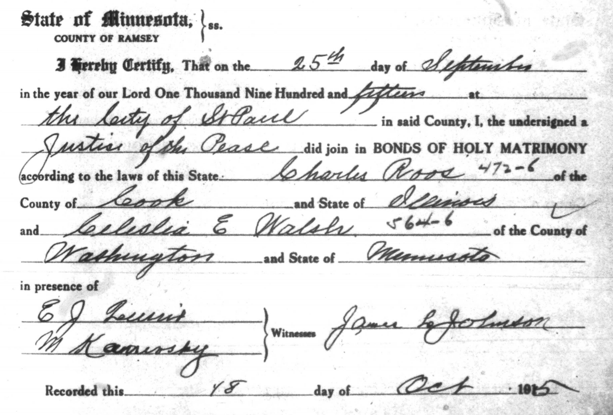 Marriage Certificate Charles Roos, Celeslia E Walsh.